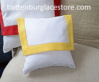 Envelope Pillow. Baby size 8 inches.White ASPEN GOLD border.