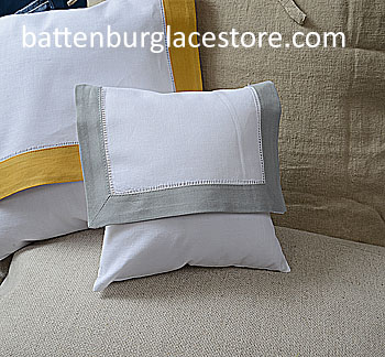 "Envelope Pillow. Baby size 8 inches. Whtie with ""High Rise"" Gray"
