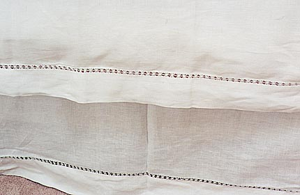 Edinburgh hemstitch bed ruffles. Cream color King