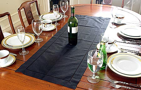 Table runner. Solid Black color. 16x36""