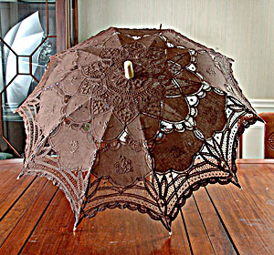 Lace Parasol. Battenburg Lace Chocolate