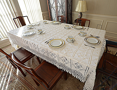 Crochet Tablecloth.Vintage Grany Square,tassels72x108W