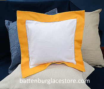 Baby Square Sham. White with Apricot color border. 12 in.